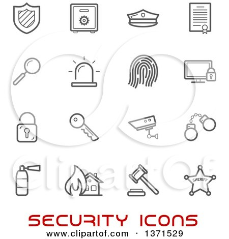 Clipart of Black and White Security Icons over Text - Royalty Free Vector Illustration by Vector Tradition SM