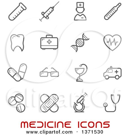 Clipart of Black and White Medicine Icons over Text - Royalty Free Vector Illustration by Vector Tradition SM