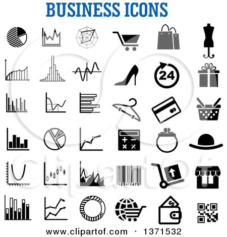 Clipart of Black and White Business Icons over Text - Royalty Free Vector Illustration by Vector Tradition SM