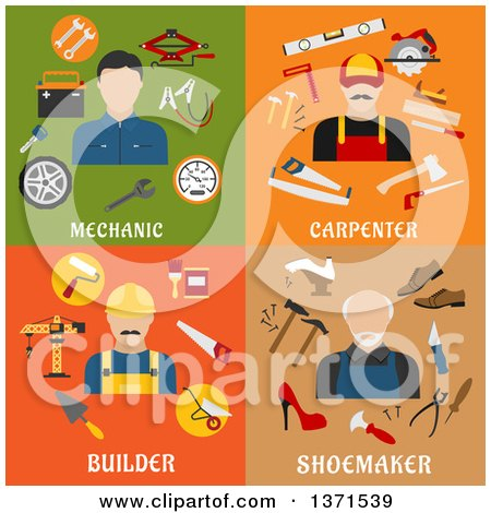 Clipart of a Mechanic, Carpenter, Builder and Shoemaker with Tools and Text - Royalty Free Vector Illustration by Vector Tradition SM