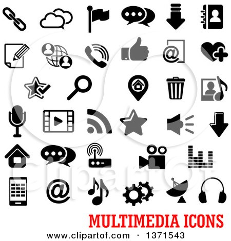 Clipart of Black and White Multimedia Icons over Text - Royalty Free Vector Illustration by Vector Tradition SM