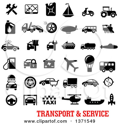 Clipart of Black and White Transport and Service Icons over Text - Royalty Free Vector Illustration by Vector Tradition SM