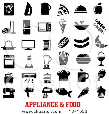 Clipart of Black and White Appliance and Food Icons over Text - Royalty Free Vector Illustration by Vector Tradition SM