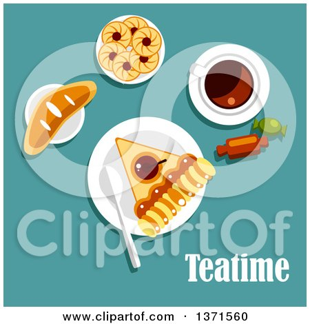 Clipart of Teatime Snacks with Tea, Apple Pie, Cookies, Jam, Sweet Bun and Candies over Turquoise with Text - Royalty Free Vector Illustration by Vector Tradition SM