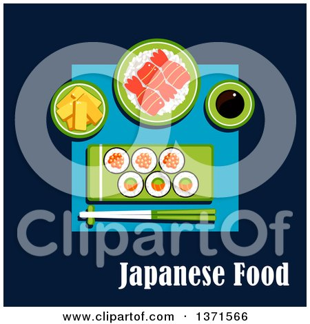 Clipart of Sushi Maki Rolls with Salmon, Avocado and Red Caviar, Rice with Shrimps, Tofu Slices, Soy Sauce and Chopsticks on Blue with Text - Royalty Free Vector Illustration by Vector Tradition SM