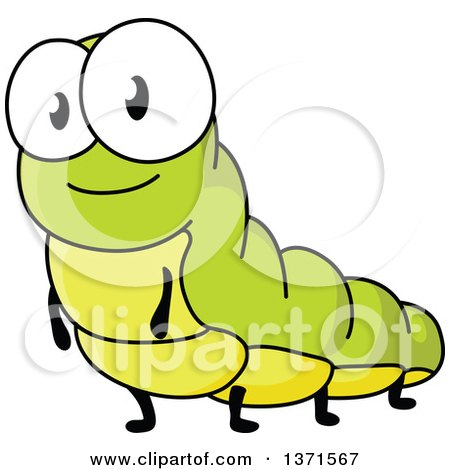 Clipart of Cartoon Caterpillars on Leaves - Royalty Free Vector ...