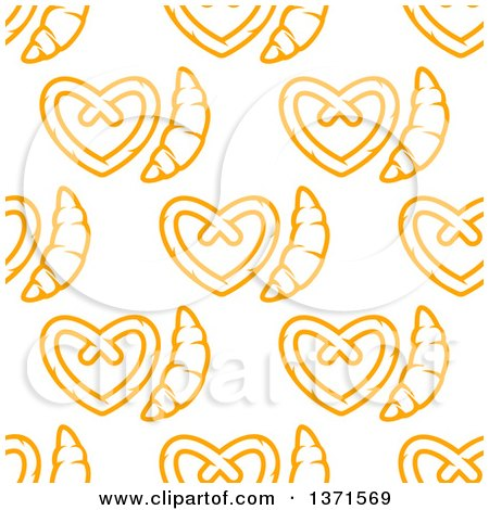 Clipart of a Seamless Background Pattern of Croissants and Soft Pretzels - Royalty Free Vector Illustration by Vector Tradition SM
