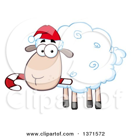 Clipart of a Cartoon Christmas Sheep Wearing a Santa Hat and Chewing on a Candy Cane - Royalty Free Vector Illustration by Hit Toon