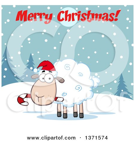Clipart of a Cartoon Xmas Sheep Wearing a Santa Hat and Chewing on a Candy Cane Under a Merry Christmas Greeting - Royalty Free Vector Illustration by Hit Toon