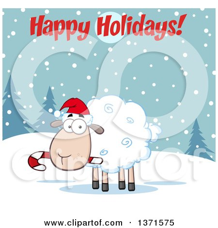 Clipart of a Cartoon Christmas Sheep Wearing a Santa Hat and Chewing on a Candy Cane Under a Happy Holidays Greeting - Royalty Free Vector Illustration by Hit Toon