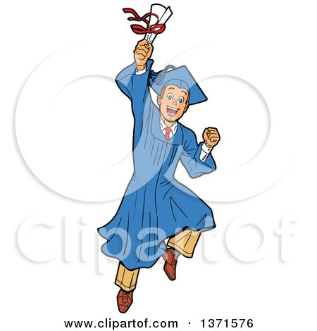 Clipart Of An Excited Young White Male Graduate Jumping And Holding a Diploma or Degree - Royalty Free Vector Illustration by Clip Art Mascots