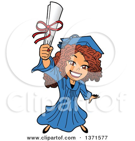Clipart Of An Excited Young White Female Graduate Holding up a Diploma or Degree - Royalty Free Vector Illustration by Clip Art Mascots