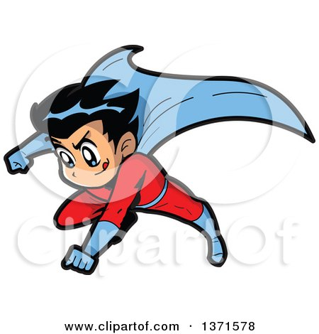 Clipart Of A Male Manga Super Hero Boy Flying - Royalty Free Vector Illustration by Clip Art Mascots