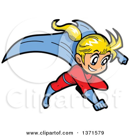 Clipart Of A Flying Blond White Super Hero Girl  - Royalty Free Vector Illustration by Clip Art Mascots