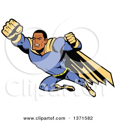 Clipart Of A Tough Black Male Super Hero Flying - Royalty Free Vector Illustration by Clip Art Mascots