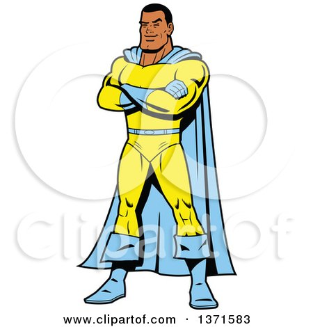 Clipart Of A Male Super Hero Standing With Folded Arms - Royalty Free Vector Illustration by Clip Art Mascots