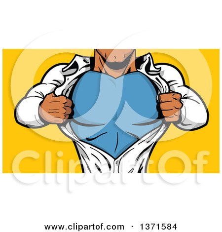 Clipart Of A Black Male Super Hero Ripping Off His Shirt, Over Yellow  - Royalty Free Vector Illustration by Clip Art Mascots