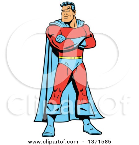 Clipart Of A Tough White Male Super Hero Standing With Folded Arms  - Royalty Free Vector Illustration by Clip Art Mascots