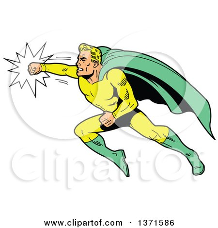 Clipart Of A Blond White Male Super Hero Flying and Punching - Royalty Free Vector Illustration by Clip Art Mascots