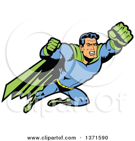 Clipart Of A Male Super Hero Flying With Fists Out - Royalty Free Vector Illustration by Clip Art Mascots
