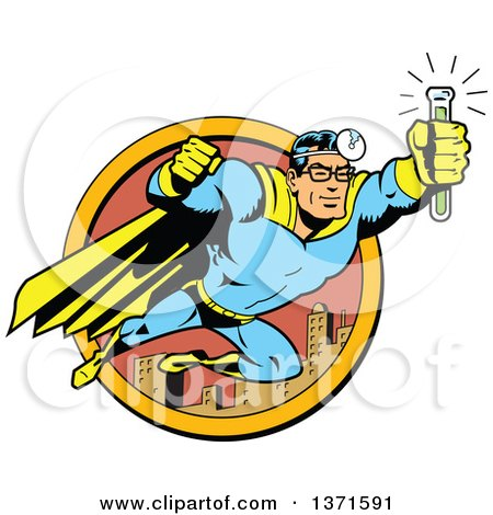 Clipart Of A Male Super Hero Medic Flying With an Antidote Serum - Royalty Free Vector Illustration by Clip Art Mascots