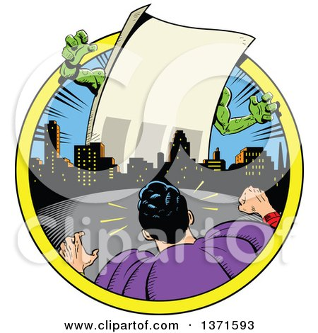 Clipart Of A Male Super Hero Facing a Giant Paper Monster With Text Space - Royalty Free Vector Illustration by Clip Art Mascots