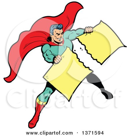 Clipart Of A Male Super Hero Tearing Apart A Sign - Royalty Free Vector Illustration by Clip Art Mascots