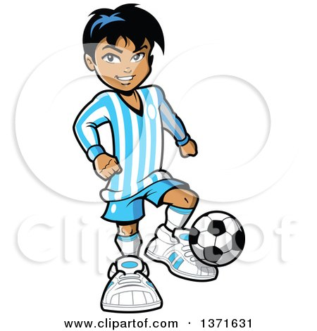 Clipart Of A Hispanic Boy Playing Soccer - Royalty Free Vector Illustration by Clip Art Mascots