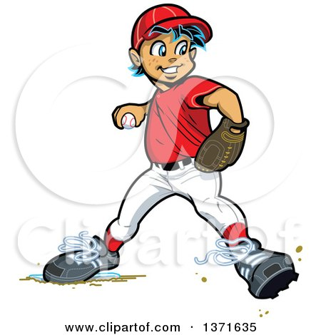 Clipart Of A White Male Baseball Player Boy Baseman Throwing Royalty Free Vector Illustration
