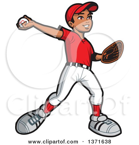 Clipart Of A Black Baseball Player Boy Pitching Royalty Free Vector Illustration