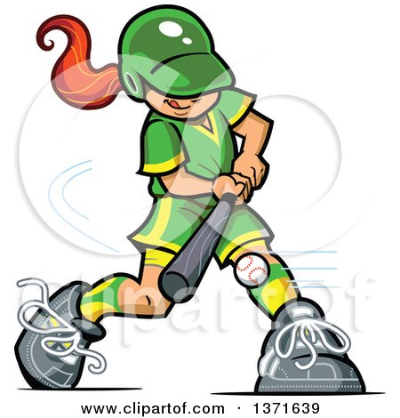 Clipart Of A Red Haired White Baseball Player Girl Batting Royalty Free Vector Illustration