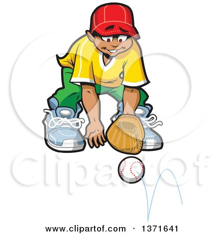 Clipart Of A Happy Hispanic Male Baseball Player Boy Stopping a Ground Ball - Royalty Free Vector Illustration by Clip Art Mascots