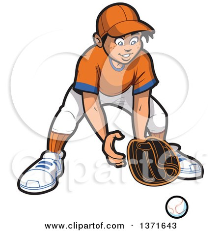 Clipart Of A Happy Male Baseball Player Boy Outfielder Ready For A Ball Royalty Free Vector Illustration