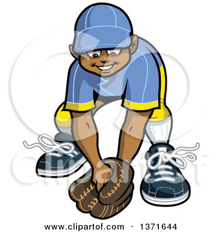 Clipart Of A Happy Black Male Baseball Player Boy Outfielder Ready For A Ball Royalty Free Vector Illustration