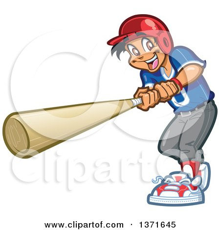 Clipart Of A Happy Hispanic Male Baseball Player Boy Swinging a Bat - Royalty Free Vector Illustration by Clip Art Mascots