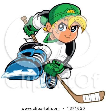 Clipart Of A Tough Blond White Boy Playing Hockey - Royalty Free Vector Illustration by Clip Art Mascots