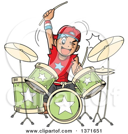 Clipart Of A Manga Boy Playing Drums - Royalty Free Vector Illustration by Clip Art Mascots