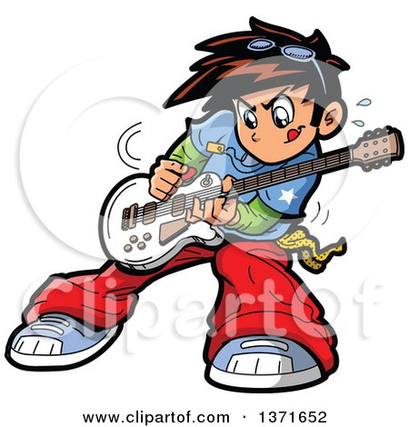 Clipart Of A Manga Boy Playing A Guitar Royalty Free Vector Illustration