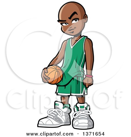 Clipart Of A Black Boy Holding a Basketball - Royalty Free Vector Illustration by Clip Art Mascots