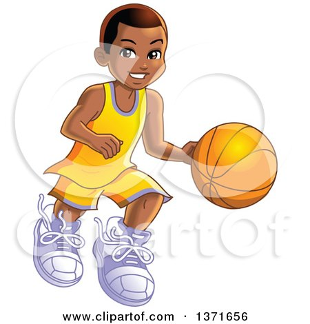 Clipart Of A Happy Black Boy Dribbling a Basketball - Royalty Free Vector Illustration by Clip Art Mascots