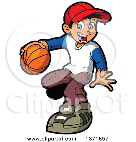Clipart Of A Happy White Boy Playng Basketball - Royalty Free Vector Illustration by Clip Art Mascots