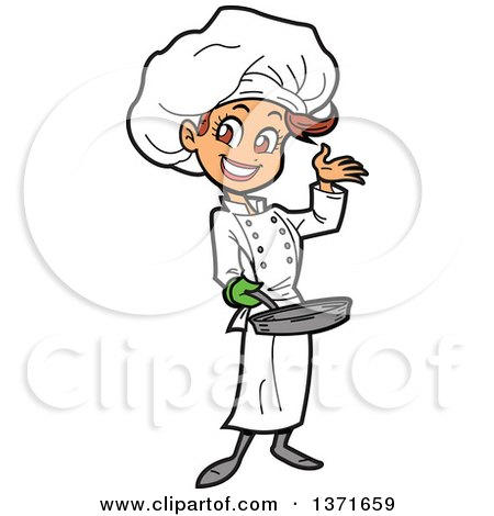 Happy White Female Chef Presenting and Holding a Pan Posters, Art Prints