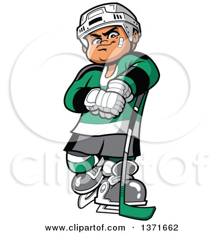 Clipart Of A Tough White Male Hockey Player - Royalty Free Vector Illustration by Clip Art Mascots