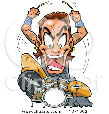Clipart Of A Crazy White Male Metal Band Drummer Musician Royalty Free Vector Illustration