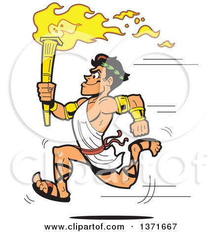 Clipart Of A Muscular Olympic Greek Torch Bearer Man Running in a Toga - Royalty Free Vector Illustration by Clip Art Mascots