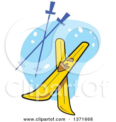 Clipart Of A Pair of Yellow Skis and Sticks Over Blue - Royalty Free Vector Illustration by Clip Art Mascots