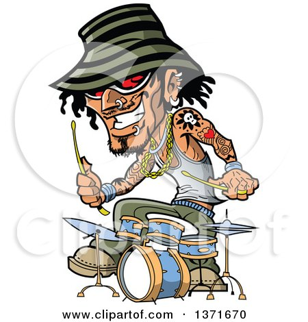 Clipart Of A Tattooed Music Band Drummer - Royalty Free Vector Illustration by Clip Art Mascots