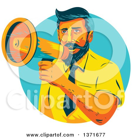 Clipart of a Retro Wpa Styled Business Man Announcing Through a Megaphone in a Turquoise Circle - Royalty Free Vector Illustration by patrimonio