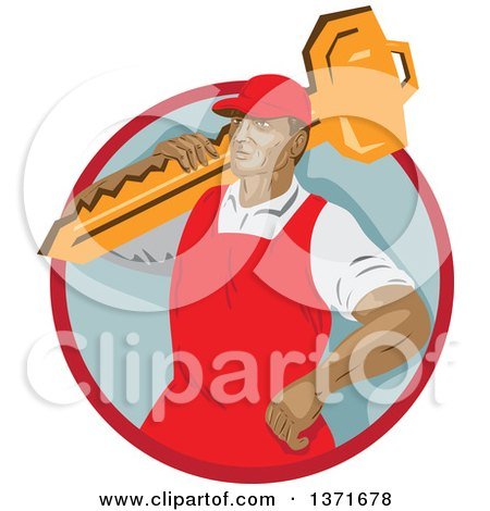 Clipart of a Retro Wpa Styled Locksmith Carrying a Giant Key over His Shoulder in a Red and Gray Circle - Royalty Free Vector Illustration by patrimonio
