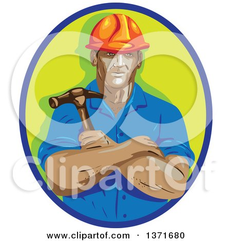 Clipart of a Retro Wpa Styled Construction Worker Holding a Hammer in Folded Arms, Within a Blue and Green Oval - Royalty Free Vector Illustration by patrimonio